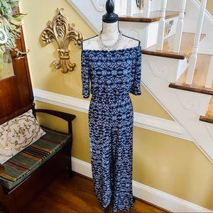 Strapless navy blue jumpsuit